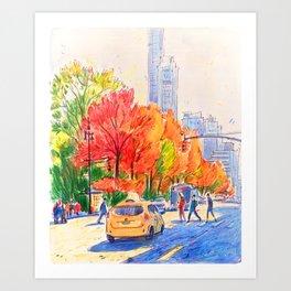 November in Central Park, Manhattan  Art Print
