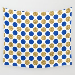 Pastel pink navy blue faux gold glitter polka dots Wall Tapestry