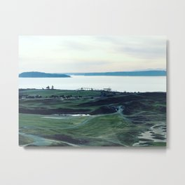 Chambers Bay Golf Course and Puget Sound Metal Print