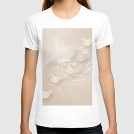Fabulous butterflies and wattle with textured chevron pattern in subtle iced coffee T-shirt