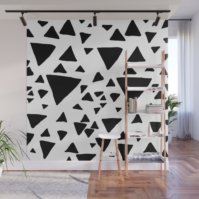 Black White Hand Painted Geometric Triangles Wall Mural By Pink Water