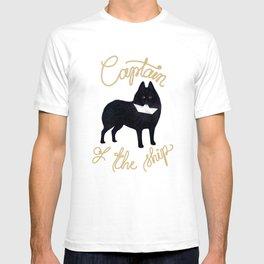 Captain Schipperke (Blue and Beige) T-shirt