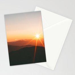 Yellow Orange Mountain Parallax Sunrise Landscape Stationery Cards