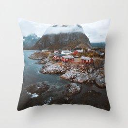 Hamnoy Village Throw Pillow