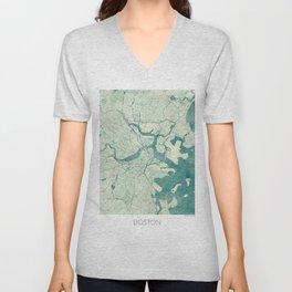 Boston Map Blue Vintage Unisex V-Neck