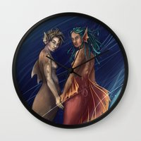 mermaids Wall Clocks featuring Mermaids by laya rose
