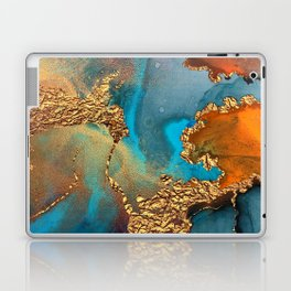 Abstract Blue And Gold Autumn Marble Laptop & iPad Skin