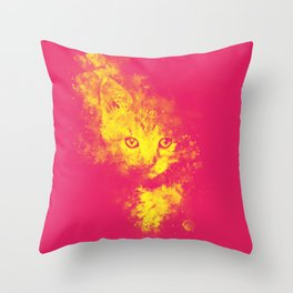 abstract young cat wspy Throw Pillow