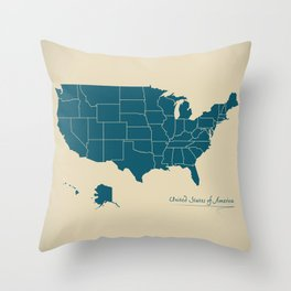 Modern Map - United States of America USA Throw Pillow