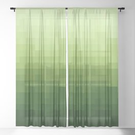 Gradient Pixel Green Sheer Curtain