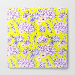 Modern elegant yellow lavender lilac pink watercolor floral Metal Print