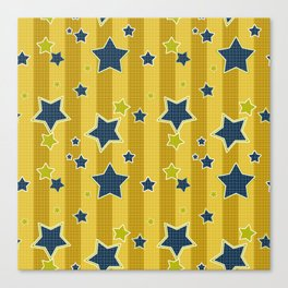 Blue stars on a yellow background Canvas Print