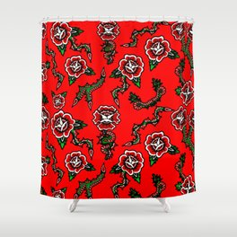 BED OF SNAKE ROSES Shower Curtain