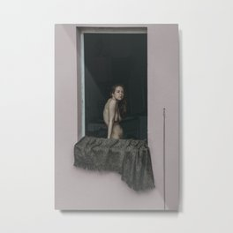 The nude model stands in the window. Metal Print