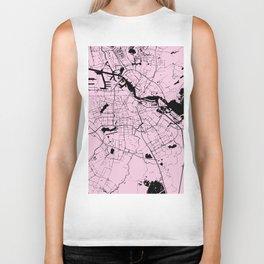 Amsterdam Pink on Black Street Map Biker Tank