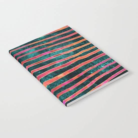 Pattern Play / Stripes on deep turquoise Notebook