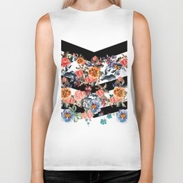Colored flowers with black lines Biker Tank