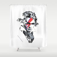 beethoven Shower Curtains featuring Bowie Beethoven by Komrod
