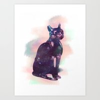 egyptian Art Prints featuring Egyptian cat  by Vita♥G