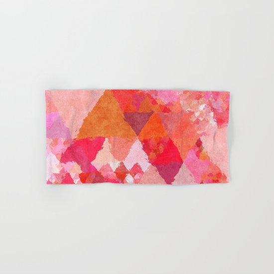 Into the heat - Pink and red watercolor Triangle pattern Hand & Bath Towel