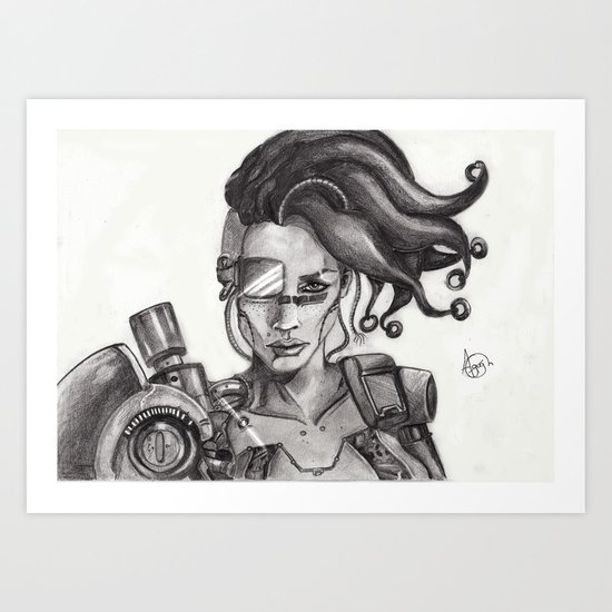 Miss Cyborg - with edits Art Print