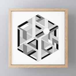Hexagon monochrome Framed Mini Art Print
