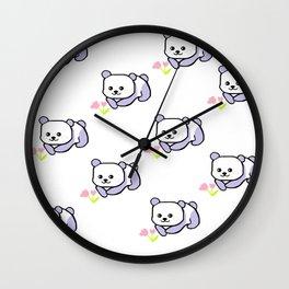 Flower Panda Pattern Wall Clock