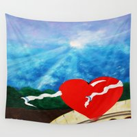 roman Wall Tapestries featuring ROMAN HEART by KEVIN CURTIS BARR'S ART OF FAMOUS FACES