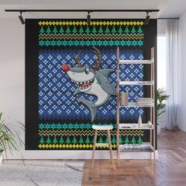 Ugly Christmas Reindeer Shark Wall Mural