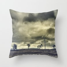 Five trees. Storm sky. Retro Throw Pillow