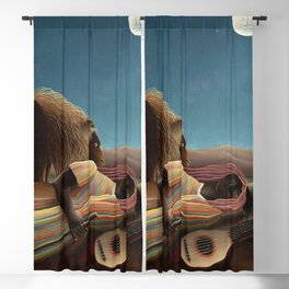 'The Sleeping Gypsy' Lion and Moon While Sleeping in the Desert by Henri Rousseau Blackout Curtain