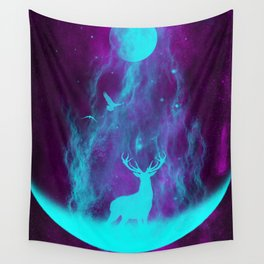Enlightened Forest | Spirit Deer | Moon and Antlers | Space Deer Wall Tapestry