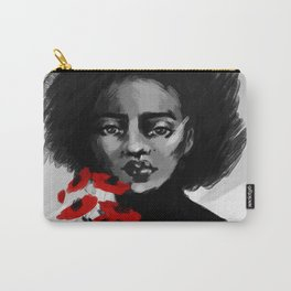 the girl with red flowers  Carry-All Pouch
