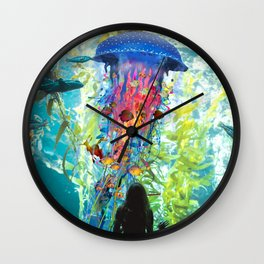 Electric Jellyfish World in an Aquarium Wall Clock