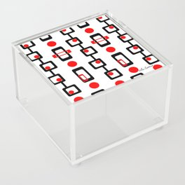 Circles Squares Black Red White Acrylic Box