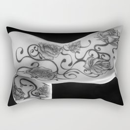 3682-DRLa B&W  Excellent Rose Fillagree Body Tattoo on Beautiful Nude Girl by Chris Maher Rectangular Pillow