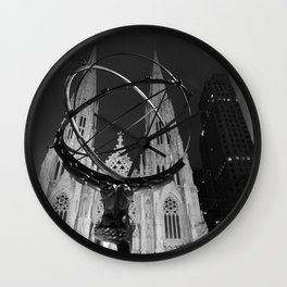 St. Patrick's Cathedral behind Atlas  Wall Clock