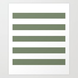 Camouflage green - solid color - white stripes pattern Art Print