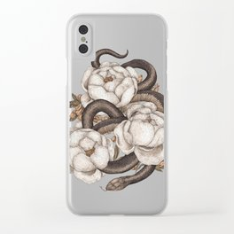Snake and Peonies Clear iPhone Case