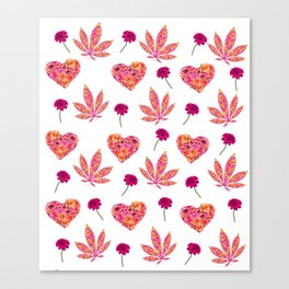 i Heart Pot Leaf Print Canvas Print