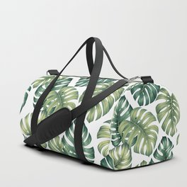Monstera botanical leaves illustration pattern on white Duffle Bag