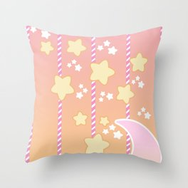Tutti Fruity Moon Star Throw Pillow
