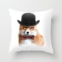 gentleman Throw Pillows featuring Gentleman by JM Illustration