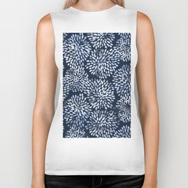 Abstract Navy Watercolor Line Flowers Biker Tank