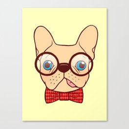 Preppy Frenchie is ready for school with his new bow tie Canvas Print