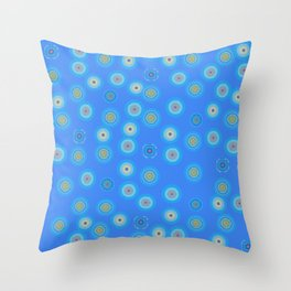 Spots and Dots on Blue Throw Pillow