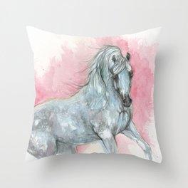 arabian horse watercolour art Throw Pillow