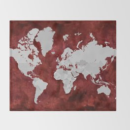 Red watercolor and grey world map with outlined countries Throw Blanket