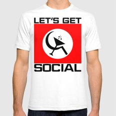 Let's Get Social White SMALL Mens Fitted Tee