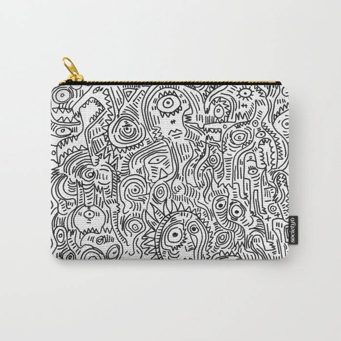 Primitive Art in Black and white pattern Carry-All Pouch
